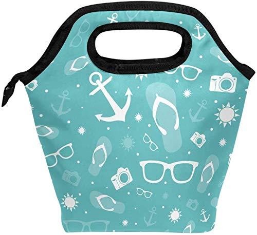 Bolsa de almuerzo, ancla de verano, gafas de sol, cámara, turquesa, lonchera aislada, bolso portátil térmico, contenedor de alimentos, enfriador, reutilizable