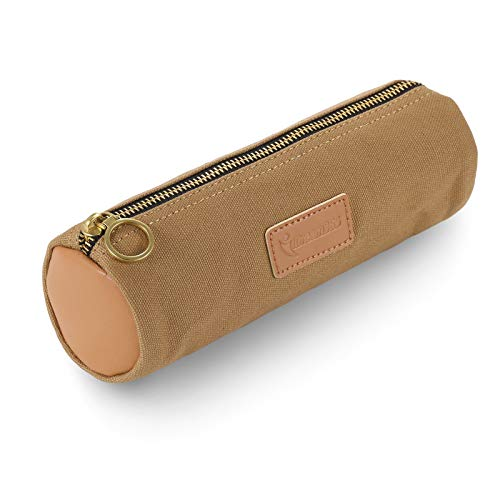 iDream365 Canvas Simple Pencil Case Bag Pouch,Durable with Brass Zipper,Match Color Design-Brown