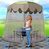 Patio Umbrella Cover Zippered Mosquito Netting Screen Table Umbrella Canopy Garden Deck Furniture for Outdoor Bar , Shade Accessories for Home & Garden (for 9.8ft-11ft)