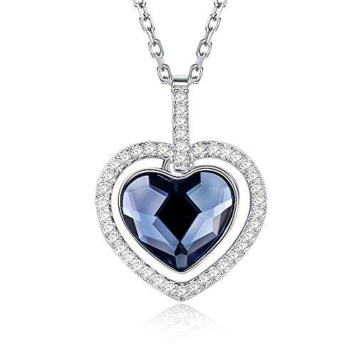 SISMIURRA Collar Mujer Plata de Ley 925 ''Corazón del Océano'' Cristales de Swarovski Regalo de San valentin Collar Corazón Colgante Circonita