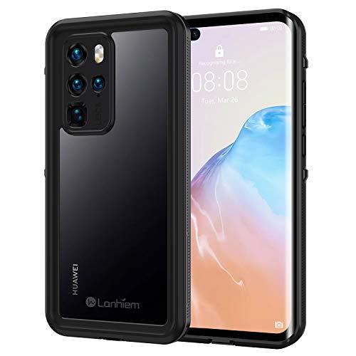 Lanhiem für Huawei P40 Pro Hülle, IP68 Zetrifiziert Wasserdicht Handy Hülle 360 Grad Schutzhülle, Stoßfest Staubdicht und Schneefest Outdoor Panzerhülle mit Eingebautem Displayschutz, Schwarz