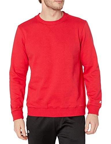Starter Men's Standard Solid Crewneck Sweatshirt, team red, S