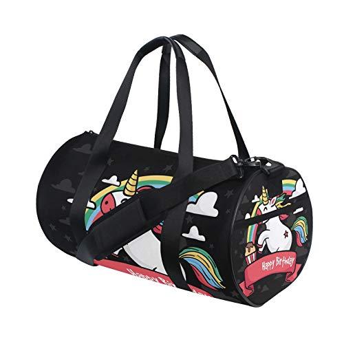 Geburtstagskarte mit handgezeichnetem Einhorn Duffle Bag Schulter Handy Sport Gym Barrel Taschen für Damen und Herren