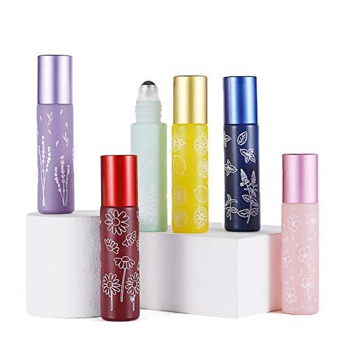 EPNT Rollo de Vidrio Esmerilado de 6 Piezas en Botellas Botella de Rodillo de Vidrio de Aceite Esencial Portátil Vacía para Viajes Botellas de Vidrio de 10 Ml 6 Colores