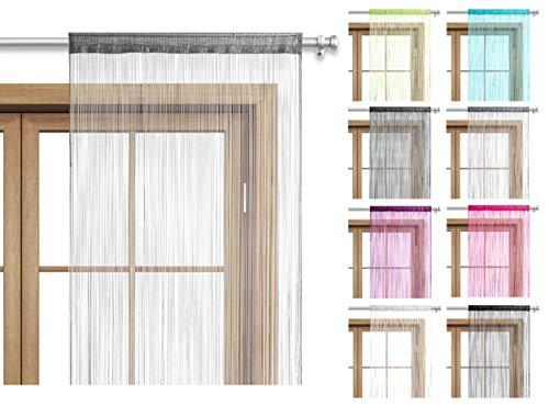 wometo Fadenvorhang Türvorhang 90x245 Stangendurchzug Schlaufe - grau waschbar