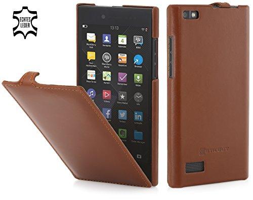 StilGut UltraSlim Case, Hülle Tasche aus Leder für BlackBerry Leap, Cognac