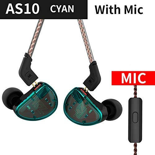 KZ AS10 Auricolare HIFI Stereo Five Balanced Armature Driver Monitor In Ear Cuffie Cuffie Fidelity In-Ear Auricolari Musicisti (AS10 Cyan with mic)
