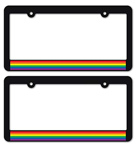 Custom Car Gear Gay Pride License Plate Frames LGBTQ+ Rainbow Flag Sticker Decal on Matte Black Frames Brackets (1-Pair/Set of 2)