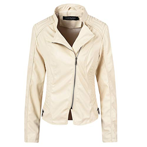 Reooly Chaqueta de Cuero con Solapa y Cremallera para Mujer Abrigo Parka Abrigo Biker Outwear