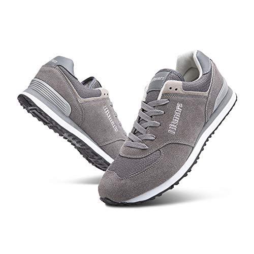 Zapatillas Hombre Mujer Casual Sneaker Gimnasio Cómodos Clásico Zapatos Deportivas Running Gris 1 Talla 43
