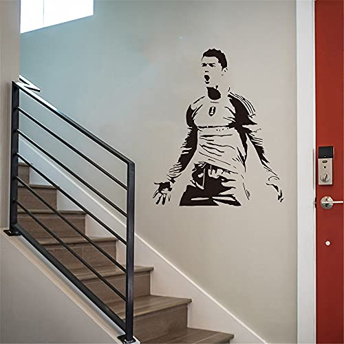 Cristiano Ronaldo, pegatina de estrella de fútbol, regalo de cumpleaños para niño, pegatina de pared, mural, papel tapiz de vinilo, póster A5 42x50cm