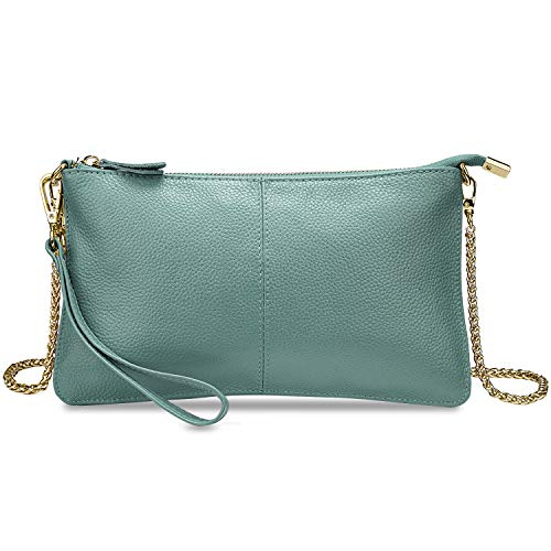 YALUXE Women's Real Leather Large Wristlet Phone Clutch Wallet with Shoulder Chain