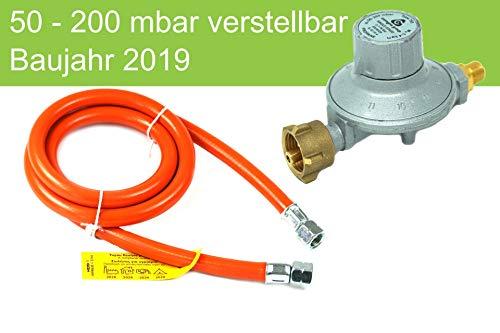 Druckminderer 50-200mbar verstellbar 11 stufig + GOK Schlauch 150cm Propan