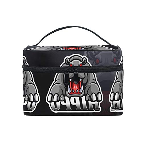 Grey Angry Hippo Cosmetic Bag Organizer Zipper Makeup Bags Pouch Toiletry Case for Girl Women