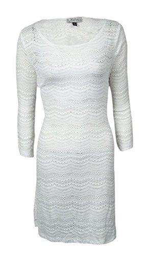 J. VALDI Women's Crochet 3/4 Sleeves Swimsuit Cover-Up (M, White)