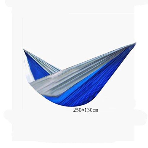 Hamac Outdoor Hamac Camping Camping Balançoire Balançoire Hamac en alpinisme Hamac Bleu Parachute en nylon Hamac en toile hamac portatif (sac de rangement * 1, corde enfant * 2, crochet * 2), (250 * 130cm)