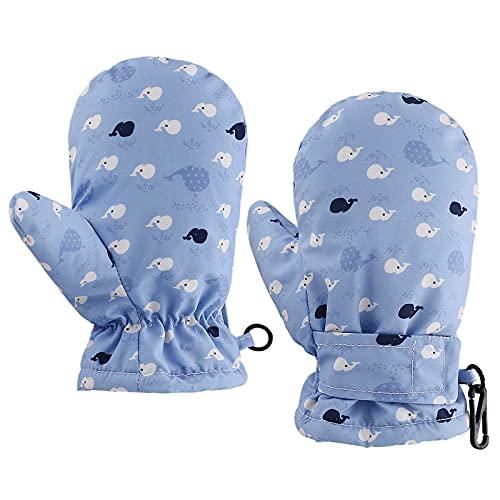 Guantes de nieve ajustables para bebé y niñas, forro de muletón, guantes de invierno impermeables para niños, cálidos, guantes de esquí (ballena, L)