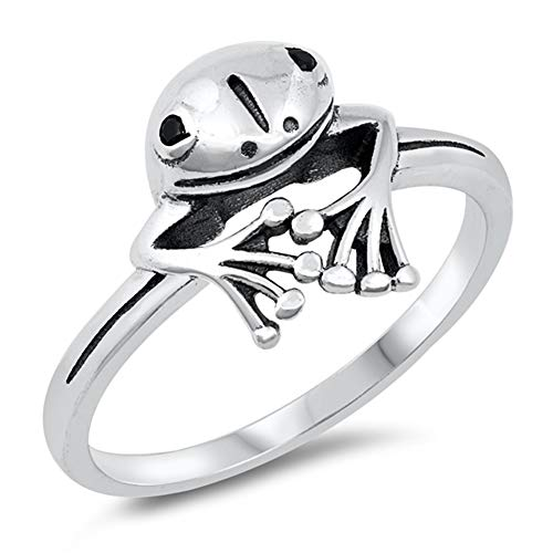 Wholesale Cute Smiling Treefrog Animal Frog Ring New .925 Sterling Silver Band Size 5