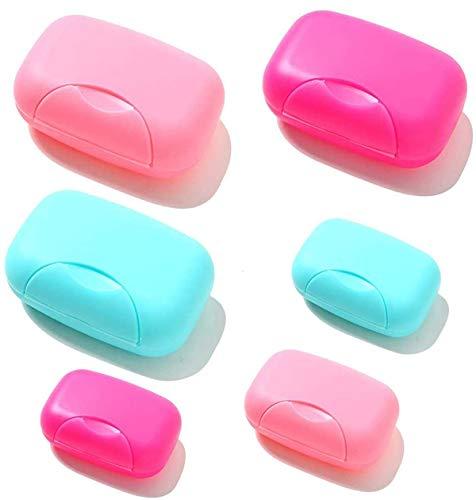 6pcs jabonera, Portátil Caja de Contenedor de Jabón de Color Caramelo Organizador Holder Organizador para el Hogar, Baño, Senderismo, Viajar, Acampar y Otras Actividades al Aire(3 Pequeño+3 Grande)