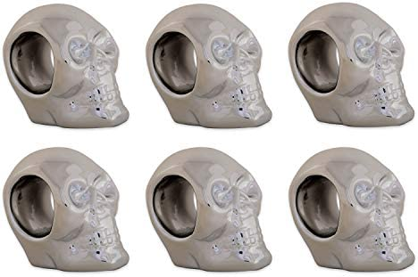 DII Silver Skull Ceramic Napkin Rings for Themed Parties Decoration for Halloween 3 25 6 Pack product image