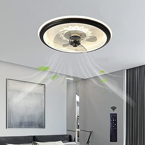 LED Ventilador Techo con Luz Silencioso Madera Ventilador De Techo Silencioso con Luz Y Mando Lampara Ventilador Techo Led Salon Dormitorio Negro 3 Velocidades 48CM*13CM 112W