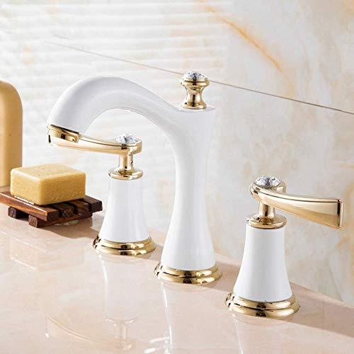 HYY-YY Europeo de tres agujeros lavabo grifo cobre baño gabinete Split grifo tres piezas titanio grifo inoxidable