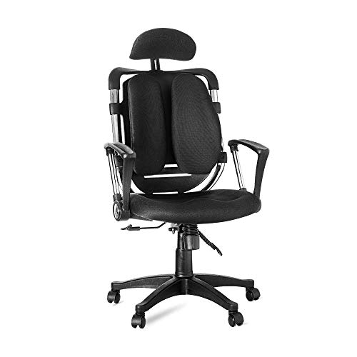 ROSMARUS High-Back Executive Ergonomic Office Desk Chair Adjustable Headrest Swivel Mesh Computer Task Recilne Chair with Lumbar Support Armrest