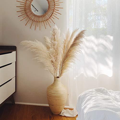 "Creative Mumblr Pampas Grass - Tall Big 3 Stems 48"" (4ft) Length Natural Dried Plants Faux Pampas for Flower Arrangements Wedding Decor Kitchen Decor Boho Home Decor (Beige)"