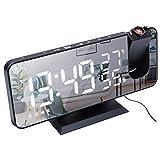 Garneck Écran LED Projection Horloge Radio Numérique Réveil Humidité et Température Détecte pour Chambre à coucher (Noir et blanc)