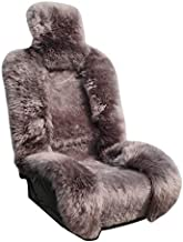 Genuine Sheepskin Seat Covers Lambskin Seat Covers Winter Car Seat Cover Lambs Wool Sheep Skin Fuzzy Seat Cover Shearling Car Accessories Front Bucket Auto Seats Cover Car Truck SUV (Brown)