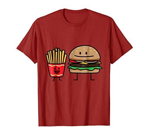 Hamburger and Fries fast food bun junk hot