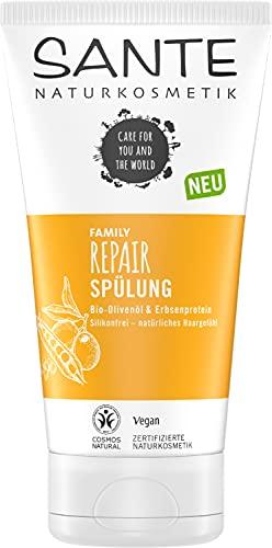 SANTE Naturkosmetik Conditioner für strapaziertes und geschädigtes Haar, Gegen Spliss und Haarbruch, Vegane Formel mit Bio-Olivenöl und Erbsenprotein, Repair Spülung, 1 x 150 ml