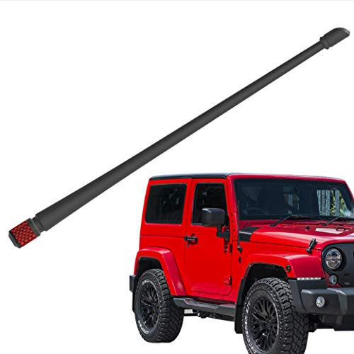 Rydonair Antenna Compatible with Jeep Wrangler JK JKU JL JLU Rubicon Sahara (2007-2020) | 13 inches Flexible Rubber Antenna Replacement | Designed for Optimized FM/AM Reception | w/Red Bottom
