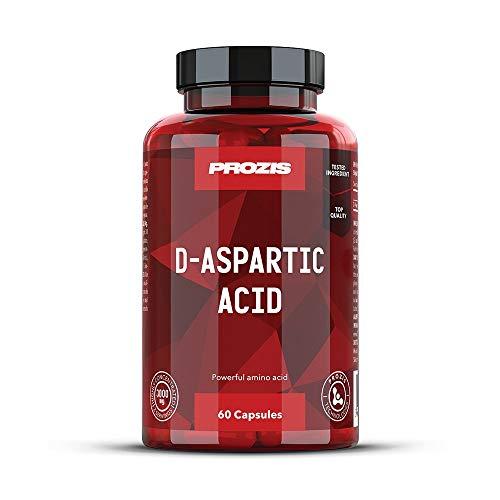 Prozis Pure D-Aspartic Acid (DAA)-Capsules 1500 mg, estimulador de testosterona para aumentar la fuerza, la resistencia y la energía, 60 cápsulas