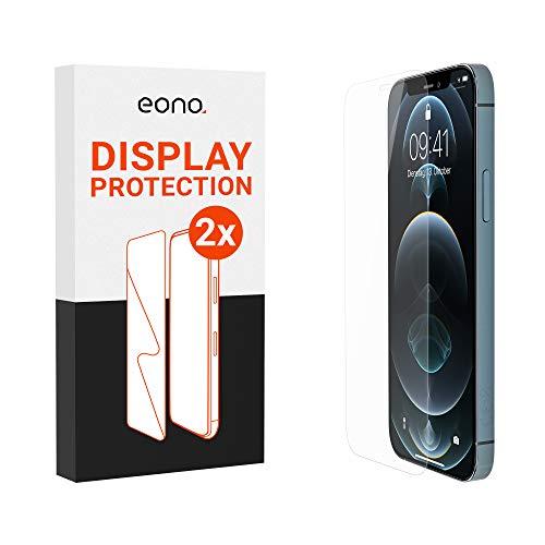Amazon Brand – Eono Panzerglas kompatibel mit iPhone 12 / Pro (6.1') - HD Schutzglas gegen Bildschirmbruch, Kratzer - Hüllenfre&lich, 2.5D, 9H Stärke - 2 Stück