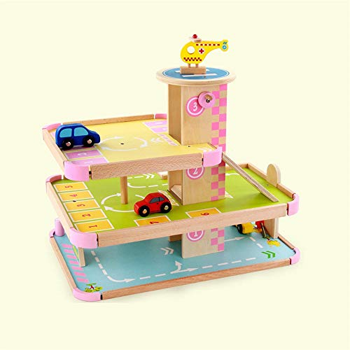 Great Features Of KJRJCD Deluxe Large Children Three-Dimensional Three-Layer Wooden Parking Garage P...