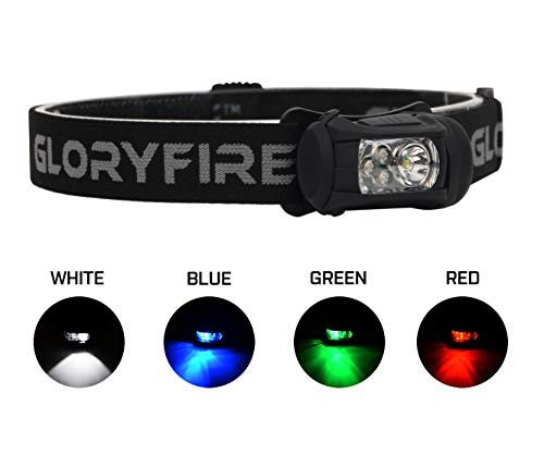 GLORYFIRE Headlamp LED 4 Colors(White, Red, Blue, Green) Headlight Battery Powered Helmet Light Camping Running 3 AAA Batteries Powered Water&Shock Resistant Fixation on Molle System