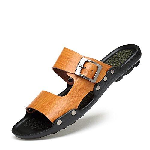 YLiansong-home Sandalias de Senderismo Zapatillas de Verano de los Hombres Ocasionales de la Playa Zapatillas Antideslizante Lavable de Intemperie Sandalia al Aire Libre (Color : Brown, Size : 39)