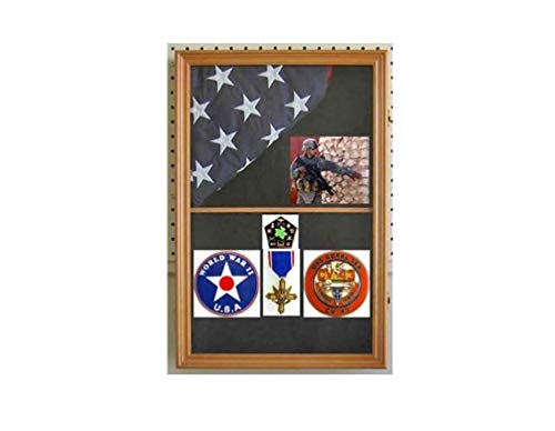 Military Shadow Box Flag Display Case Medal Keepsake Box, Holds only 3