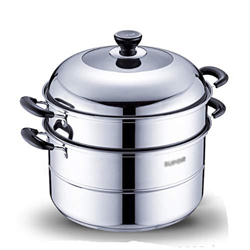 Steamer/Olla, 2 Capas De Hogares 304 Vapor De Acero Inoxidable, 30 / 32cm, Adecuados For Cocina Estufa De Gas/Inducción, For 4-9 Personas Ollas (Size : 30cm)