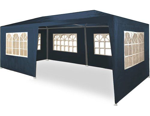 Deuba 3x6m Garden Gazebo Marquee Patio BBQ Party Tent Wedding Outdoor Large Canopy Awning Sun Shelter Sidewalls Blue