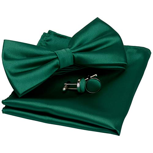 GUSLESON Mens Dark Green Wedding Bow tie Double Fold Pre-tied Bowtie and Pocket Square Cufflink Set Accessories (0570-10)