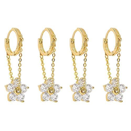 2 pares de pendientes de aro con cadena de metal y circonita, diseño bohemio, joyería de regalo