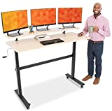 Stand Steady Tranzendesk | 55 Inch Standing Desk with Clamp On Shelf & Detachable Wheels | Crank Height Adjustable Sit to Stand Workstation | Monitor Riser Supports 3 Screens (55 in / Maple)