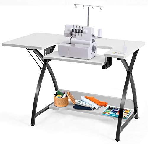 COSTWAY Table de Bureau, Table de Couture Polyvalente pour Ordinateur, Machine à Coudre ou Travail, Plate-Forme Supplémentaire Pliable, Etagère de Rangement au Dessous, 116 x 60 x 76 CM,Blanc