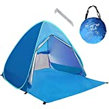 Neuf avec Fermeture à glissière Porte Pop Up Portable Tente de Plage Extérieur Anti UV Plage Abat-Jour Tente Abri Soleil,Automatique Instantanée Famille Cabana pour Camping Plage Pêche Jardin