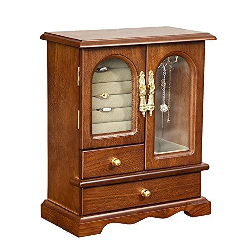 XIAOXIAO Caja de joyería de madera maciza para mujeres con puerta de cristal y collar giratorio gancho retro pendientes anillos collares vitrina almacenamiento