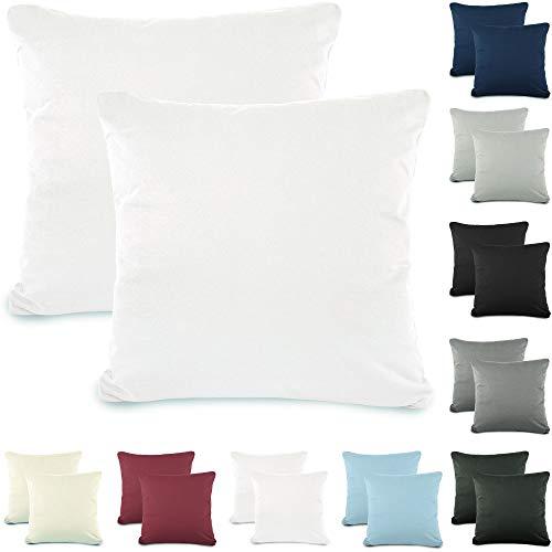 CelinaTex Active Kopfkissen Bezug Doppelpack Set 80x80 Schnee weiß Baumwolle Jersey Nackenkissen Kissenhülle 5001540