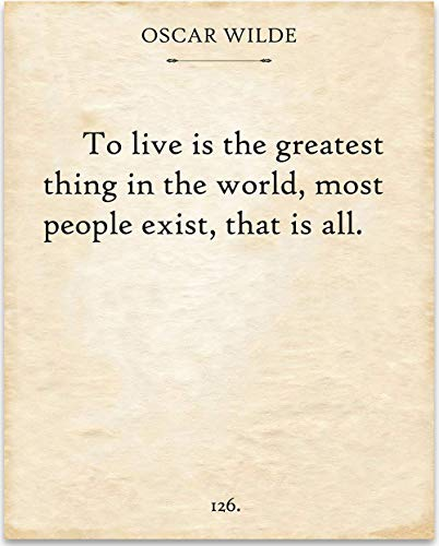 Oscar Wilde - To Live - 11x14 Unframed Typography Book Page Print - Great Gift Under $15 for Book Lovers