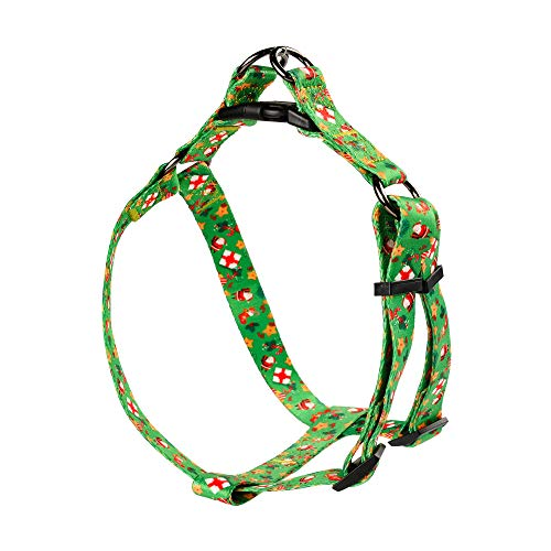 DYAprWu Adjustable Dog Harness Durable Print Harness for Small Medium and Large Dog Great for Dog Sports Training Walking Running (Happy Christmas (A), M (Chest Girth 17.7